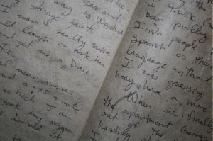 scribbled fiction in a notebook